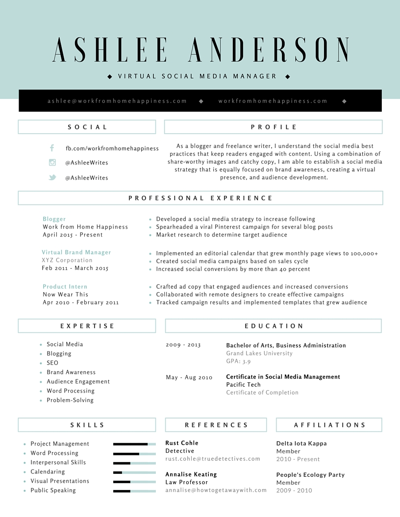 working resume samples