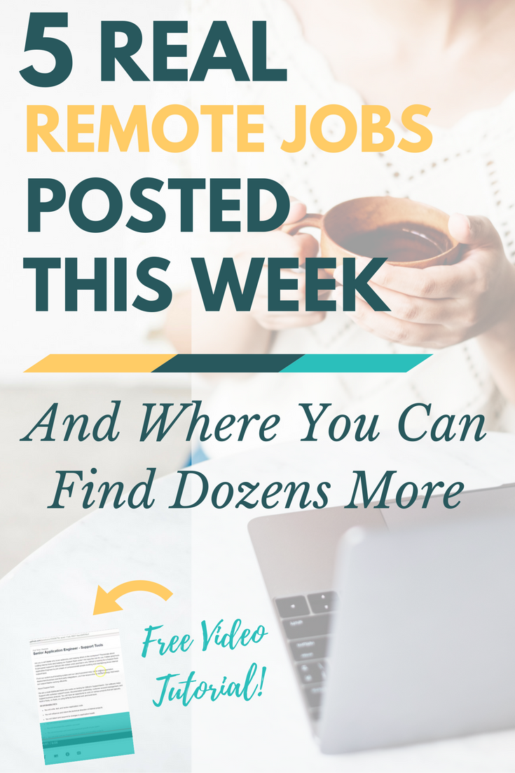 Who's hiring this week? Here are 5 real remote jobs to get you started. Plus, learn where you can find dozens more every day with a free video tutorial. What are you waiting for? Stop searching and start applying -- today!
