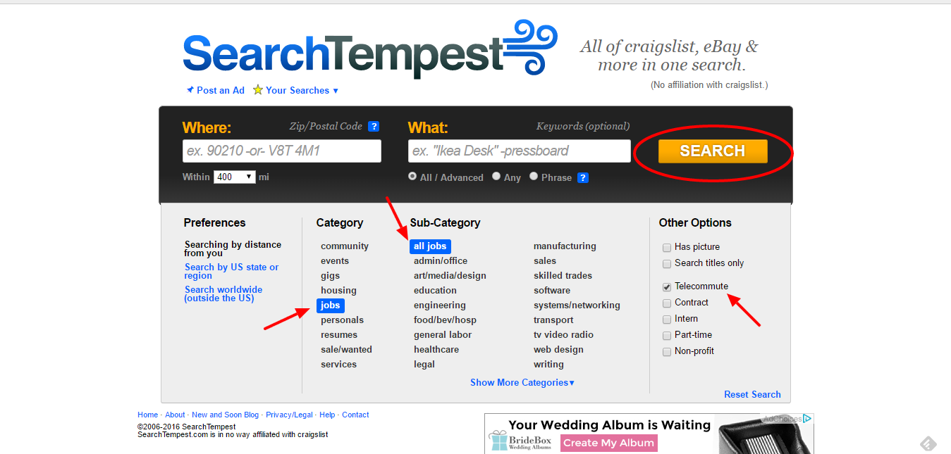 work from home jobs searchtempest