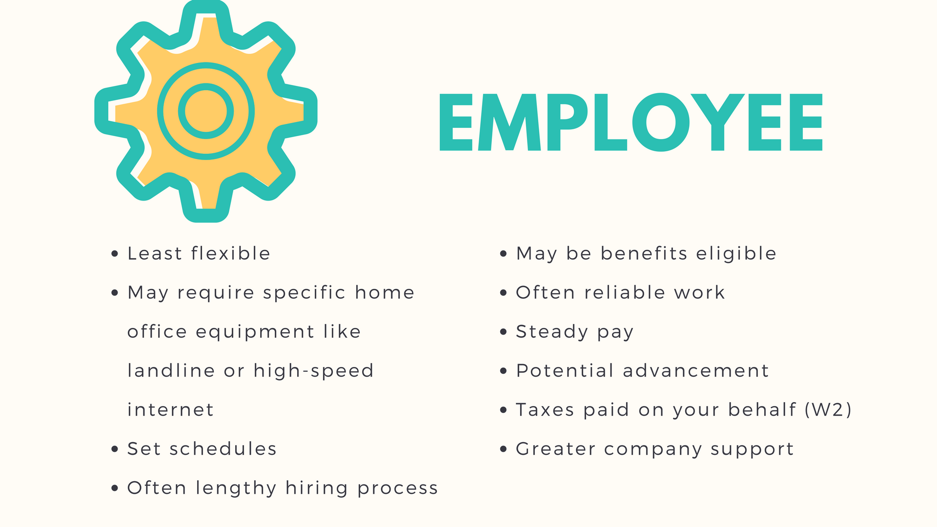 Narrow your work from home job search. Is working as an employee right for you? Here are the pros and cons.