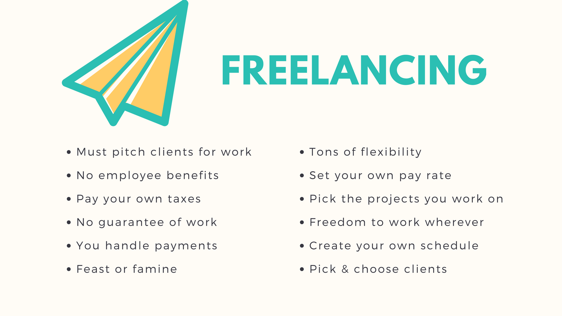 Before hunting for a job, narrow your work from home job search. Is freelancing where to focus your attention? Here are the pros and cons of freelancing.