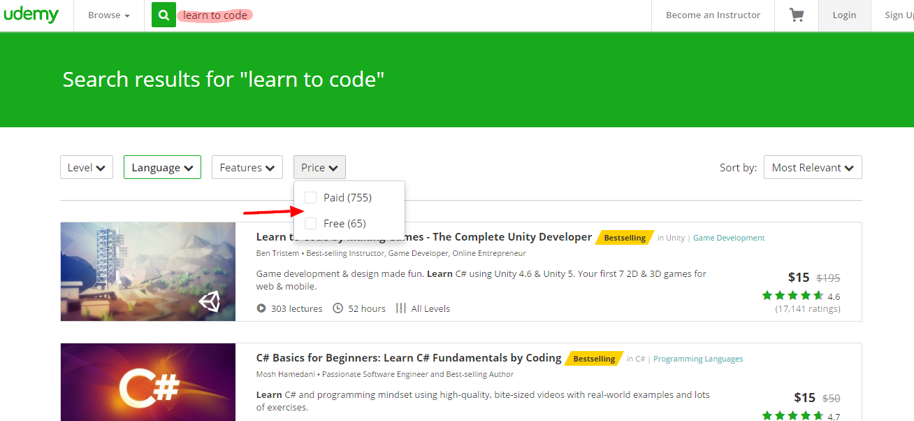 Learn to code for free with Udemy.