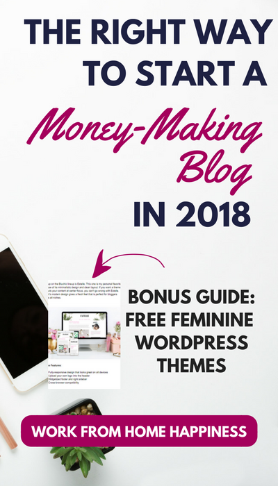 Ready to start a blog from scratch? No idea where to start? No problem! This no-fail beginner's guide will show you the right way to start a money-making blog this year! Plus, Bonus Guide to FREE Feminine WordPress Themes You Can Use Right Now. #blog #bloggingtips #workfromhome #workathome #startablog