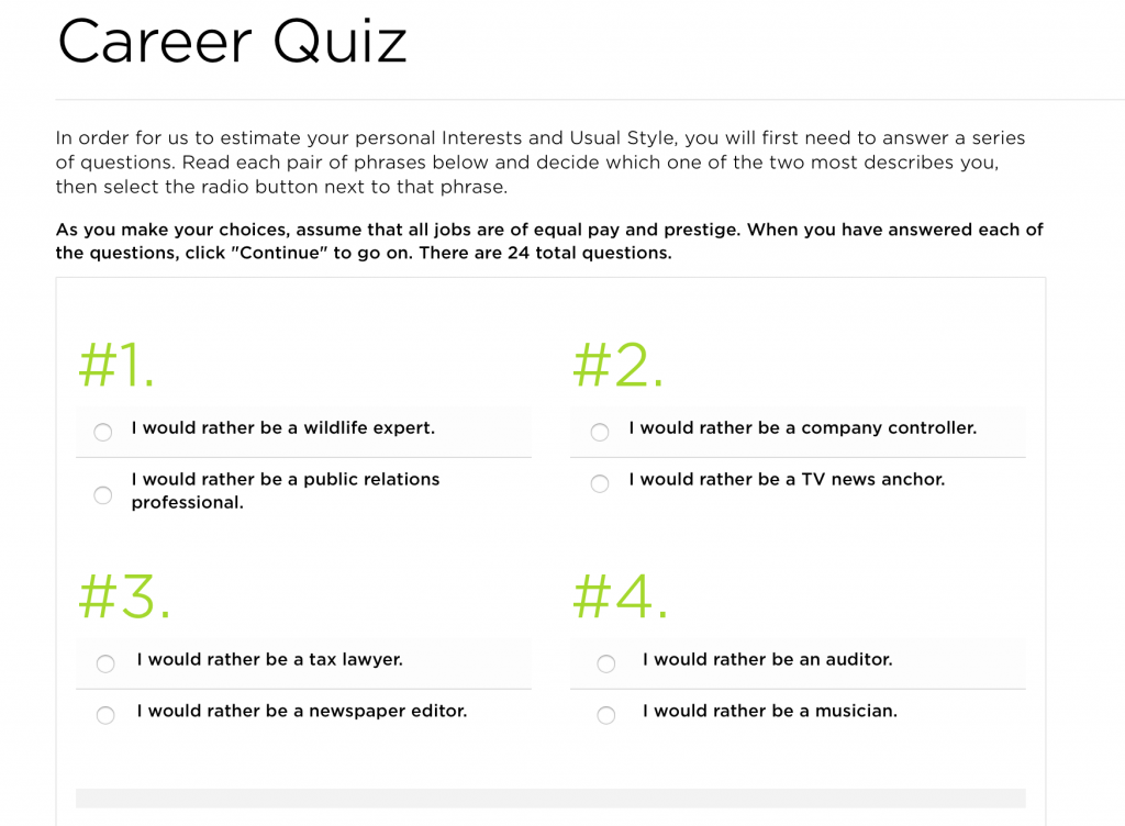 The Princeton Review Career Quiz -- one of the career quizzes you can take to help you find your dream job.