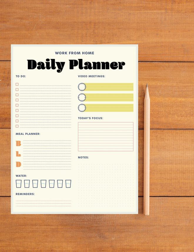 This work from home daily planner will help you take back your day! Boost your productivity and get more done (without feeling busier).